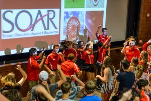 New-student leaders and incoming first-year undergraduates dance
